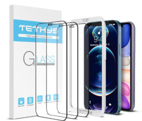 TETHYS Glass Screen Protector Designed for iPhone 11 / iPhone XR / iPhone 12 / iPhone 12 Pro [Edge To Edge] Full Coverage Tempered Glass Compatible iPhone 12/12Pro/11/Xr 6.1
